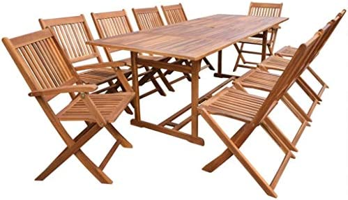 Fesjoy Juego de Muebles de Madera para jardín Conjunto de sillas de Mesa, sillas Plegables de 10 Asientos para Patio con Mesa Ideal para Sala de Estar y Comedor al Aire Libre: