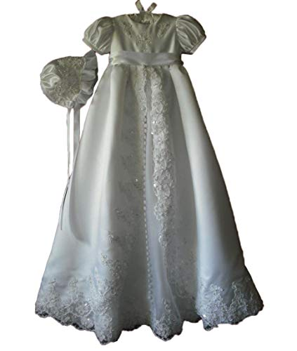 - Faithclover Christening Dresses for Baby Girls Long Lace Beaded Baptism Gowns Toddler with Bonnet