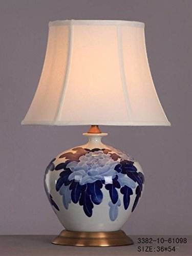 Table Lamp With Shade Porcelain Lighting White Blue Flowers Glossy