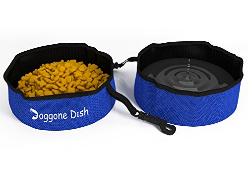 Dog Bowl Gone Dog - Collapsible Travel Pet Bowl 2 Pack for Water and Food, Set of 2 Portable Dog or Cat Bowls by Dog-Gone Dish
