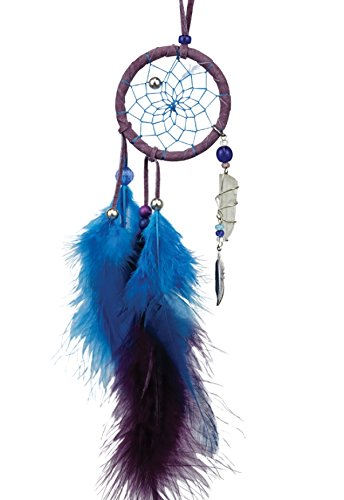 Monague Purple Leather Magical Dream Catcher with Quartz Crystal
