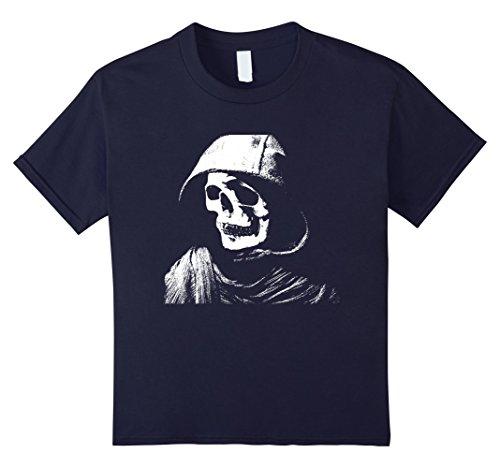 Kids Mask Scary Hood Dummy Skull Halloween Costume Shirt 6 Navy
