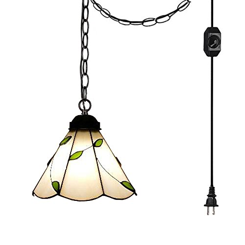 ANYE Tiffany Retro Lighting Nordic Retro Art Handmade Glass Shade Iron Chain Lighting 15ft UL Certification Dimmable Switch Cord Chandelier Bulb Not Included TB0297-TL