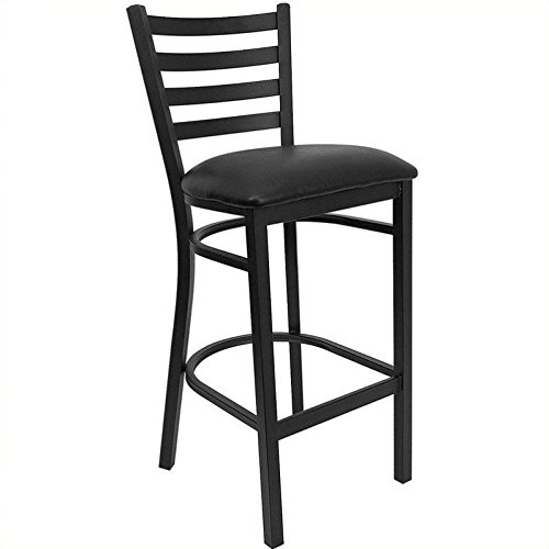 Flash Furniture HERCULES Series Black Ladder Back Metal Restaurant Barstool - Black Vinyl Seat (Padded Stools Bar Vinyl)