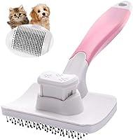 Petacc ペット用ブラシ スリッカーブラシ 抜け毛取りクリーナー グルーミング ワンプッシュで抜け毛除去 小型 中型犬 猫用ブラシ