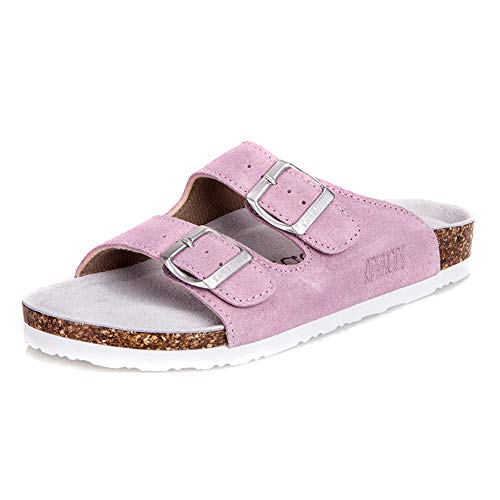 (Asifn Women's Sandal Cork Sandals Slide Flat Strap Buckle Girl Leather Footbed Adjustable Casual Double Toe Shoes Summer Open Platform Suede Slides Pink(7 US Men/8 US Women,24.5 cm Heel to)