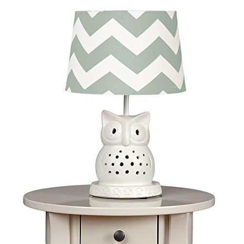 Lolli Living Owl Lamp Base w/ Seaglass Grey Zig Zag Shade