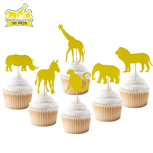 Jungle Safari Animal Cupcake Toppers,Gold Glitter Food Picks Kids Boy Girl Birthday Party Supplies Decorations Set of 36