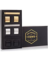 Cufflinks and Tie Clip Set - 3 Couples - Gold Silver Black - Gift Box