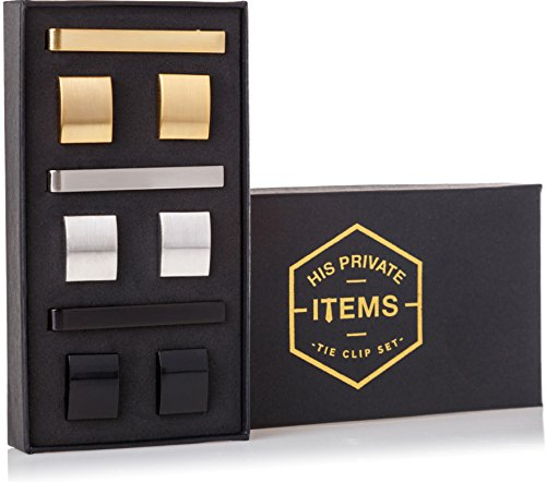 Cufflinks and Tie Clip Set - 3 Couples - Gift Box (Gold Silver Black) by His Private Items