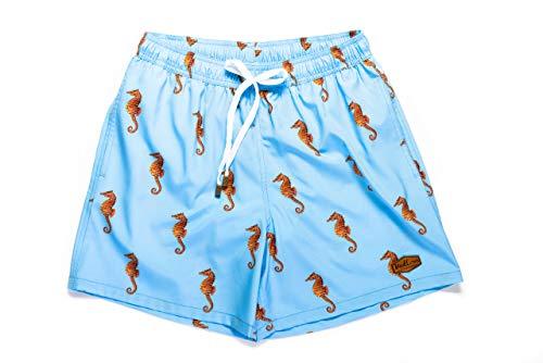 (Men's Limited Edition Blue Seahorse Swim Shorts (Large) )