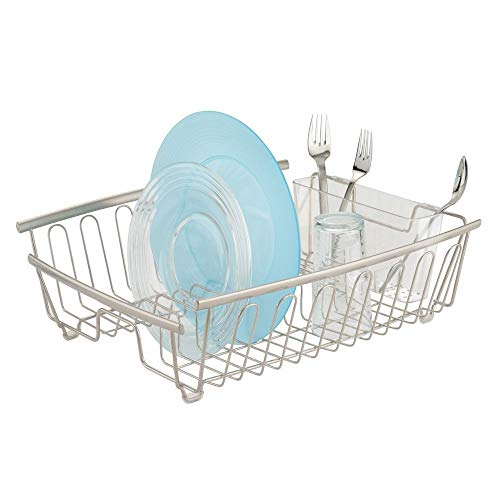 mDesign Large Kitchen Countertop, Sink Dish Drying Rack with Removable Cutlery Tray - Drain and Dry Wine Glasses, Bowls and Dishes - 2 Pieces - Satin Metal Wire/Clear BPA Free Cutlery Caddy