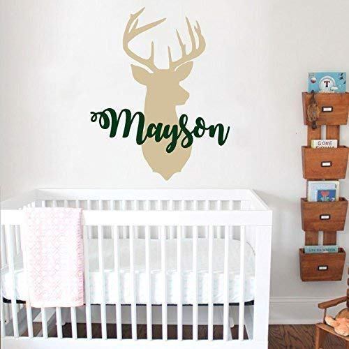 Personalized Deer Antlers Name Wall Decal. Hunting Themed Woodland Nursery Decor. Deer Head Wall Vinyl Sticker. Rustic Nursery Kids Decor F6