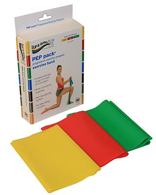 (Sup-R Band Latex Free Exercise Band - Pep Pack, 3-Piece Set - 1 Each: Yellow, Red, Green - 10-6380)