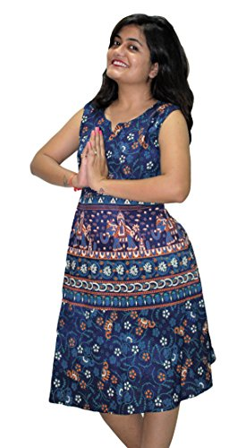Block Printed (Indian Handmade Vintage Block Printed Short Dress For Women , 100% Cotton Blue Ethnic Mandala Print (Multi Color))