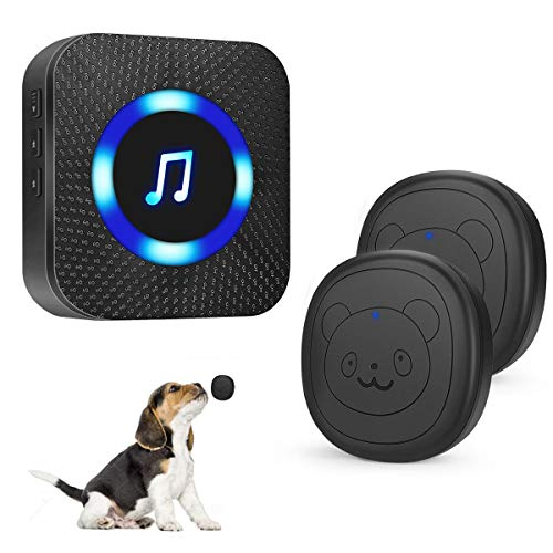 SIARY Dog Door Bell Wireless Doggie doorbells for Potty Training with Warterproof Touch Button Dog Bells Included 1 Receiver + 2 Transmitters