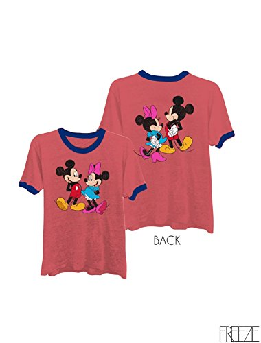 Ringer Tee Mickey Minnie Graphic Print Women Fashion T-Shirt - Chic, Cozy and Comfortable, Complete with Short Sleeves and an Easy Fit, Round Neck with Contrast Ringer, Available in All Sizes Red Medium - Eye Ringer T-shirt