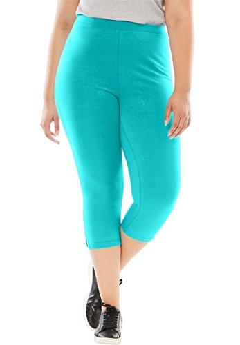 Women's Plus Size Capri Stretch Knit Leggings Vibrant Turq,M (Sporty Capris Knit)