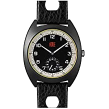 Roue SSD One with Seconds Sub dial, 1960s Racing Style, 41.5mm Sand Blasted Black PVD case, Soft Leather + Nylon Front/Leather Back Straps, Sapphire Crystal with Anti-Reflective Treatment Glass