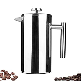 Highwin P1001-3 Small Stainless Steel Dual-Filter French Press Coffee Plunger, 12-Ounce, Silver