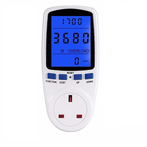 Amplifier Energy (DSLOG Electricity Usage Monitor Power Meter Plug Home Energy Watt Volt Amps KWH Consumption Analyzer with Digital LCD Display Overload Protection (White))