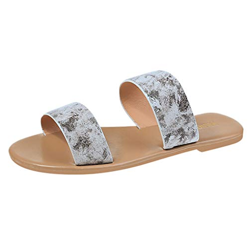 Women's Slide Sandals, ✔ Hypothesis_X ☎ Open Toe Low Heel Slip on Single Band Flat Slipper Summer Walking Shoes White ()