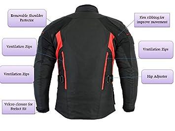 color negro//gris//negro//rojo impermeable Sterling Sports/® Chaqueta de moto para hombre con certificado CE textil de alta visibilidad