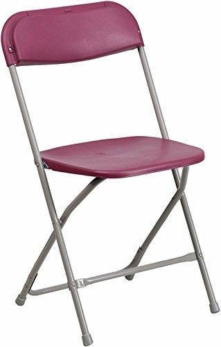 Flash Furniture HERCULES Series 550 lb. Capacity Premium Burgundy Plastic Folding Chair