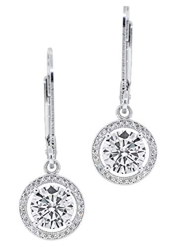 Jade Marie HEARTWARMING Silver Halo Round Cut Cubic Zirconia Drop Earrings, 18k White Gold Plated Dangle Earrings with CZ Crystals, Beautiful Sparkling Danging Earring with Round Halos for Women