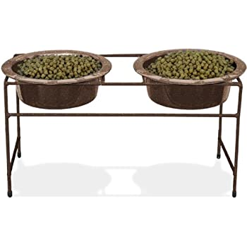 Platinum Pets Double Diner Feeder with Stainless Steel Dog Bowls, 50 oz, Copper
