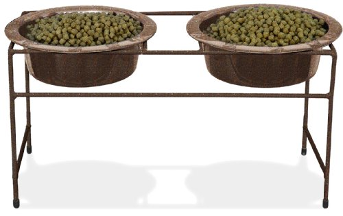 Platinum Pets Double Diner Feeder with Stainless Steel Dog Bowls, 50 oz, Copper (Double Diner Pet Bowl)