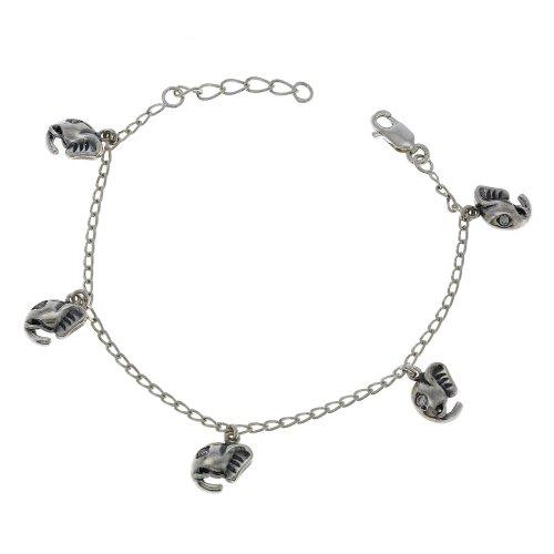 [Indian Jewellery Elephant Bracelet Charm Silver] (Brass Elephant Charm)