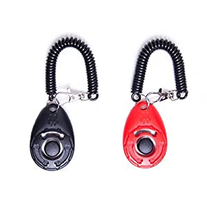 LaZimnInc Dog Training Clicker with Wrist Strap - Pet Training Clicker Set, 2-Pack(Red + Black) 2