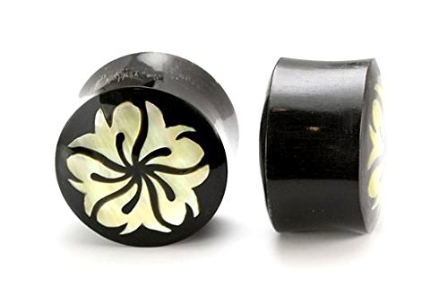Rising Birds Mother of Pearl on Horn Plug Organic Body Jewelry 12mm - 31mm - Price Per 1-22mm ~ 7/8