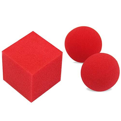HUImiai 1Block 2 Sponge Balls Magic Props, Close Up Street Classical Illusion Magic Tricks Magic Toy