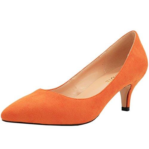 MERUMOTE - Tacón bajo mujer Naranja - Orange-Suede