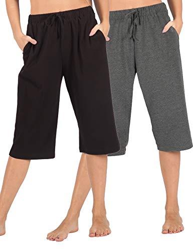 Large Pajama Lounge Pants - WEWINK CUKOO 100% Cotton Women Pajama Capri Pants Lounge Pants with Pockets Sleepwear (S=US 4-6, Black+ Granite Gray)