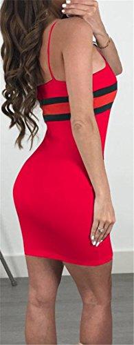 Bodycon Striped Mini Red Cromoncent Spaghetti Women's Strap Dress Sexy Print ZggHAx
