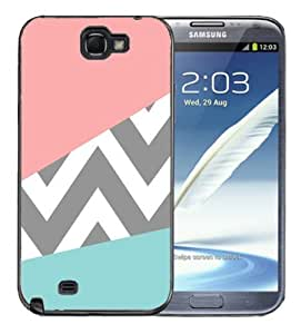 Pink Ladoo? Samsung Galaxy Note 2 Black Case - Pink and Baby Blue Design with grey Chevron Pattern Cute