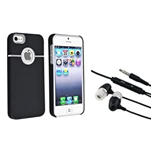 Bloutina Everydaysource Compatible with Apple iPhone 5 / 5S: Black with Chrome Hole Rear Snap-on Rubber Coated Case +...