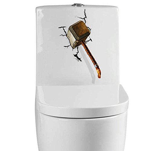 Vivid 3d Thor martillo roto pegatinas de pared para habitaciones ...