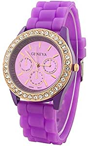 Geneva Bling Bling Watch For Unisex Casual Watch [Purple]
