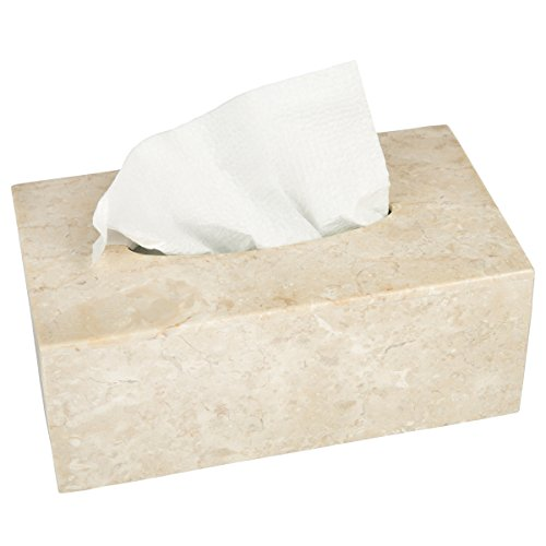Creative Home Champagne Marble Stone Rectangular Tissue Box Holder Cover 9-1/2'' L x 5-1/4'' W x 3-1/2'' H Beige by Creative Home (Image #2)