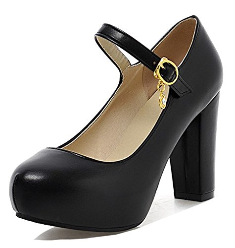 Buckled Platform Black Pump (Aisun Women's Elegant Dressy Round Toe Buckled Chunky High Heels Hidden Platform Pumps Shoes With Ankle Strap (Black, 8.5 B(M) US))