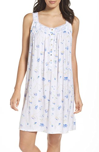 Modal Jersey Short - Eileen West Women's Modal Jersey Short Chemise Nightgown (White Floral, Large)