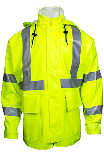 National Safety Apparel R30RL06XL Arc H2O FR Rain Jacket, Class 3, X-Large, Fluorescent Yellow by National Safety Apparel Inc