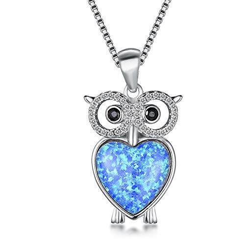 OMZBM Simulate Diamond/Gemstone Personality Owl Pendant Necklace,925 Sterling Silver High Polishing Clavicle Chain with Adjustable Tail Chain,Whitegold(Blue)
