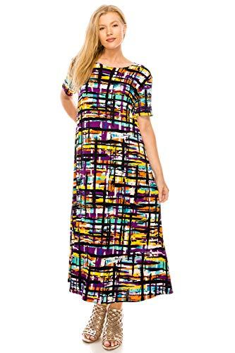 Jostar Women's Stretchy Long Dress Short Sleeve Print Medium Multi Flower