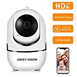 Cheap USKEYVISION WiFi Security Camera Home AWS Cloud Storage Auto Cruise 1080P HD Wireless Indoor Dome Camera Motion Tracker Auto-Tracking 2-Way Audio Night Vision APP Remote Control AI Camera(White)