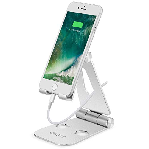 Criacr Cell Phone Stand, Phone Dock, Foldable Charging Stand Compatible Switch, Multi-Angle Tablet Holder, Cradle, Adjustable Aluminum Portable Charger Dock iPhone Samsung, Video, iPad, Lapto